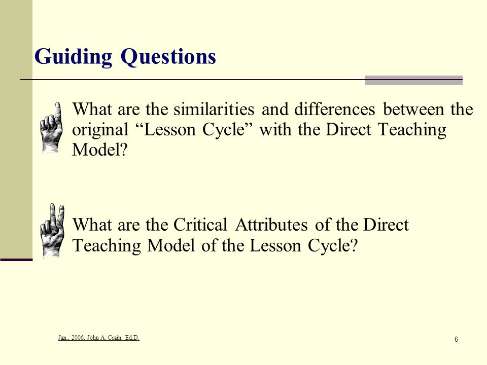Guiding Questions What are the similarities and differences between the original Lesson Cycle with the Direct Teaching Model