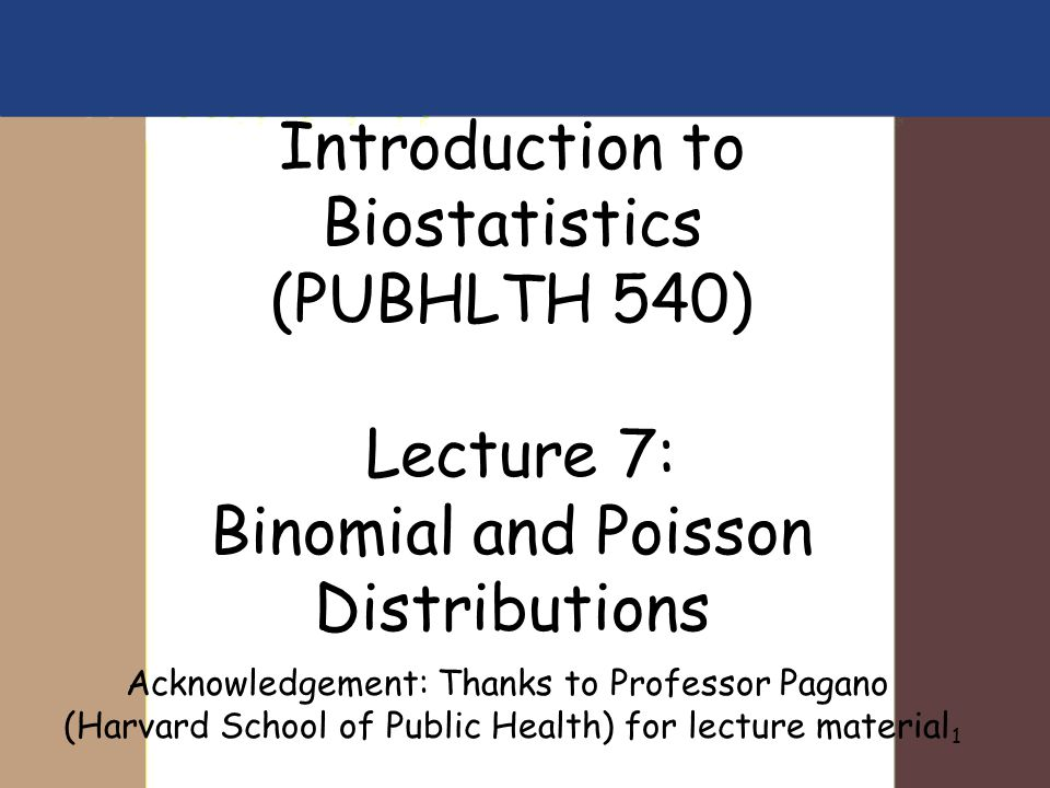 Introduction to Biostatistics (PUBHLTH 540) Lecture 7: Binomial and Poisson Distributions