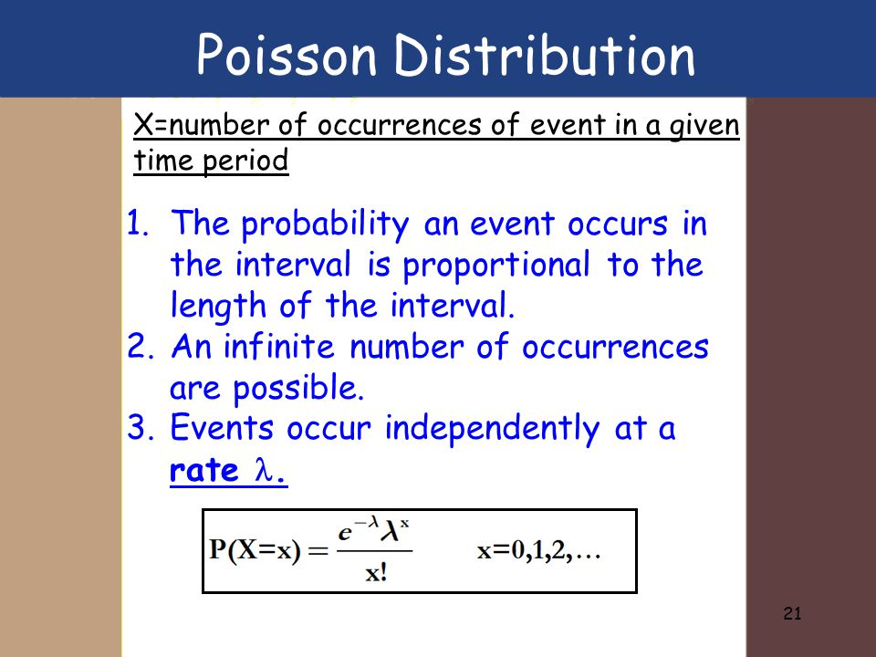 Poisson Distribution X=number of occurrences of event in a given time period.
