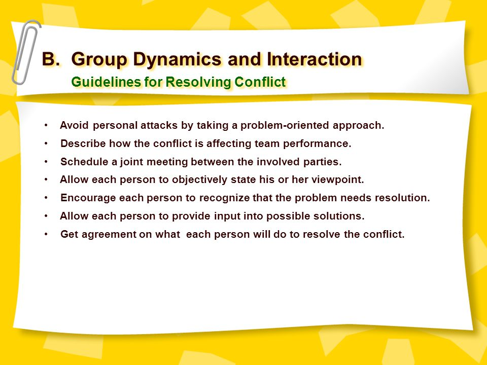 B. Group Dynamics and Interaction