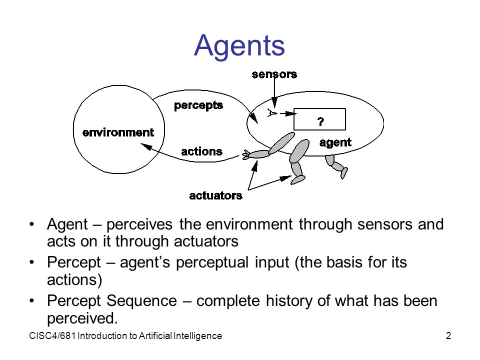 Agents Agent – perceives the environment through sensors and acts on it through actuators.