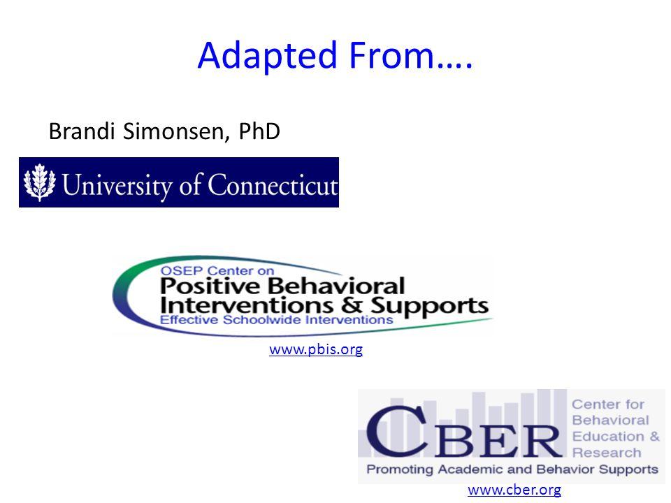 Adapted From…. Brandi Simonsen, PhD www.pbis.org www.cber.org