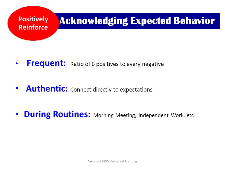 Acknowledging Expected Behavior