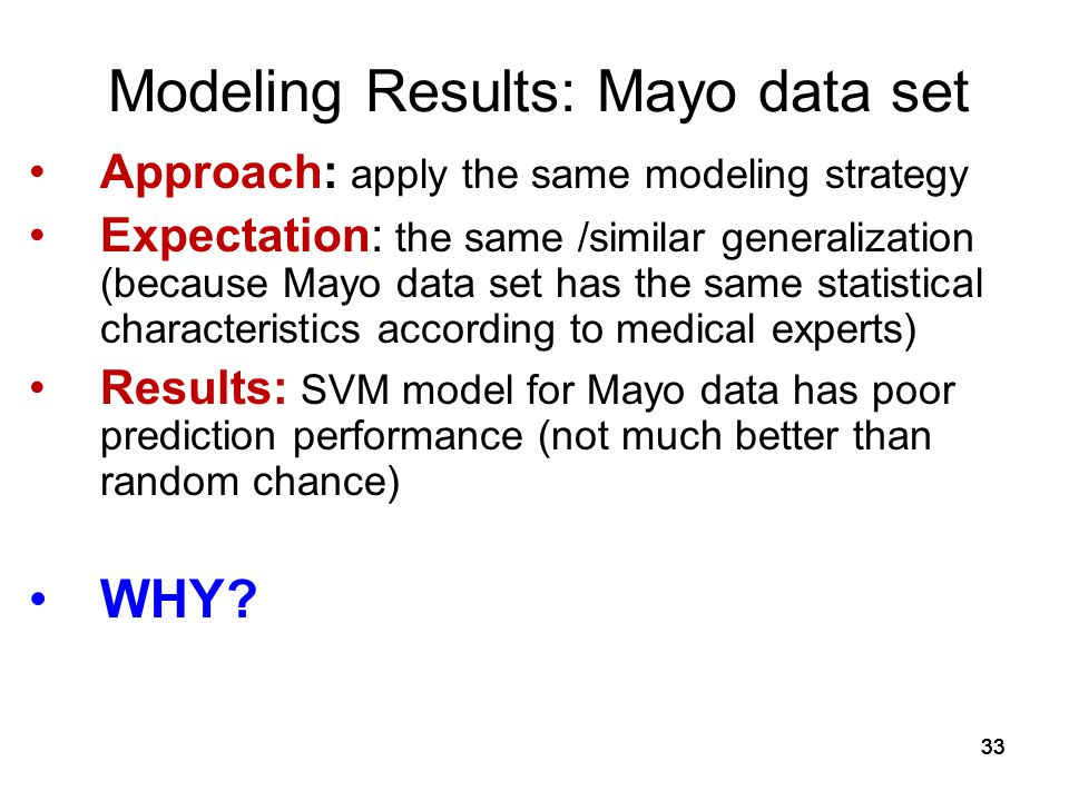 Modeling Results: Mayo data set
