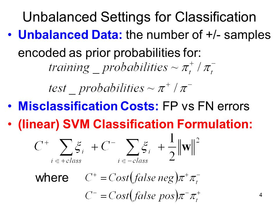 Unbalanced Settings for Classification