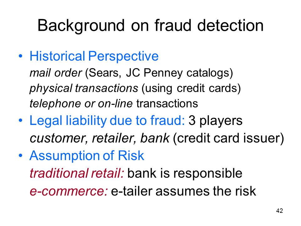 Background on fraud detection