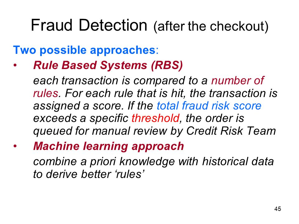 Fraud Detection (after the checkout)