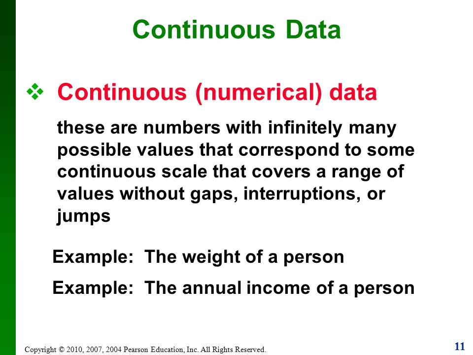 Continuous Data Continuous (numerical) data