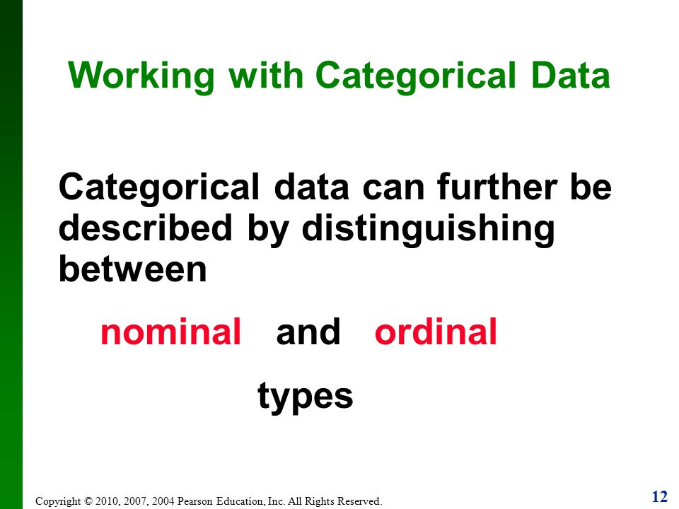 Working with Categorical Data