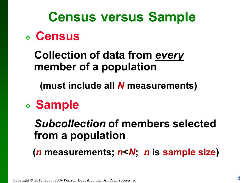 Census versus Sample (must include all N measurements)