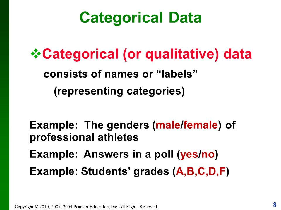 Categorical Data Categorical (or qualitative) data