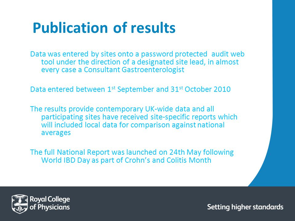 Publication of results