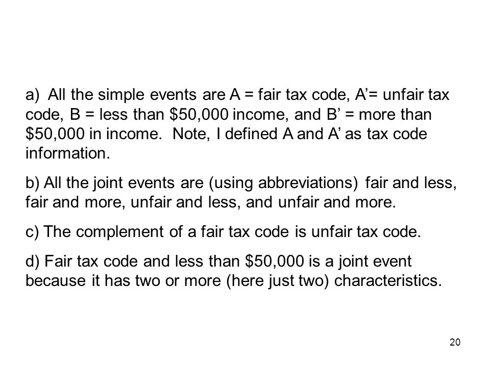 a) All the simple events are A = fair tax code, A'= unfair tax code, B = less than $50,000 income, and B' = more than $50,000 in income. Note, I defined A and A' as tax code information.