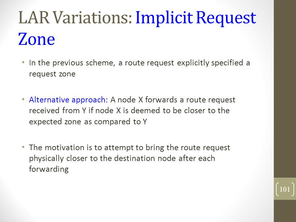 LAR Variations: Implicit Request Zone