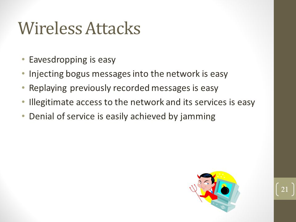 Wireless Attacks Eavesdropping is easy