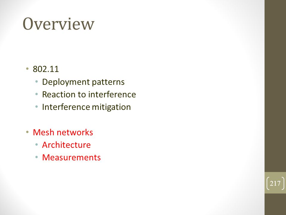 Overview 802.11 Deployment patterns Reaction to interference
