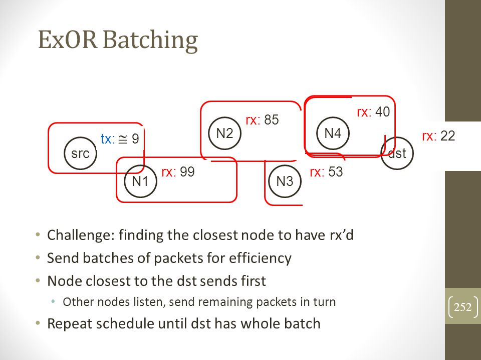 ExOR Batching Challenge: finding the closest node to have rx'd