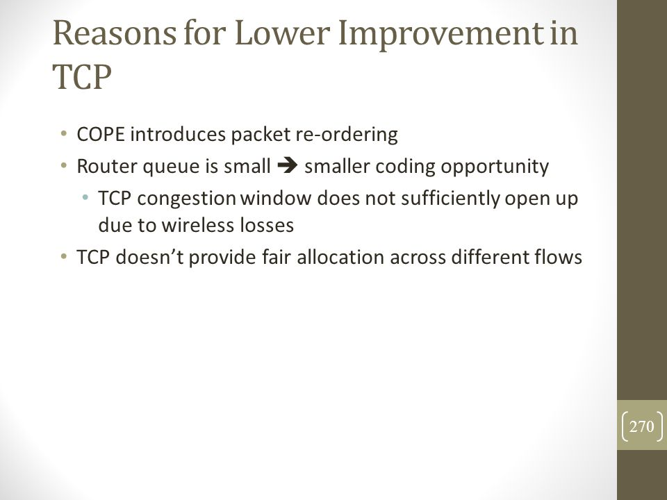 Reasons for Lower Improvement in TCP