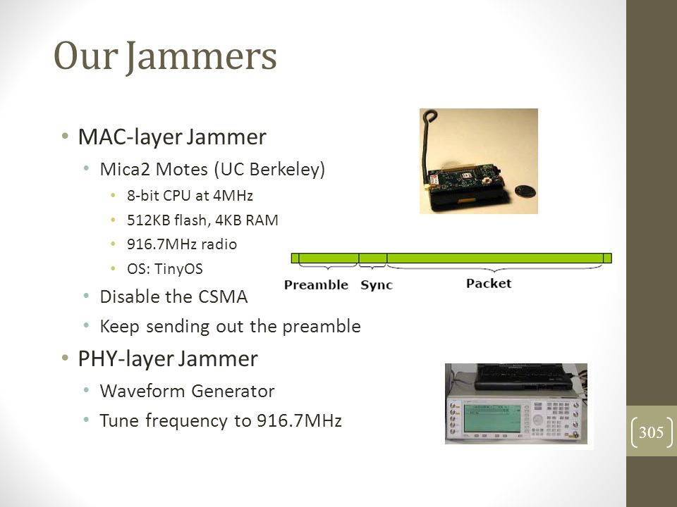 Our Jammers MAC-layer Jammer PHY-layer Jammer
