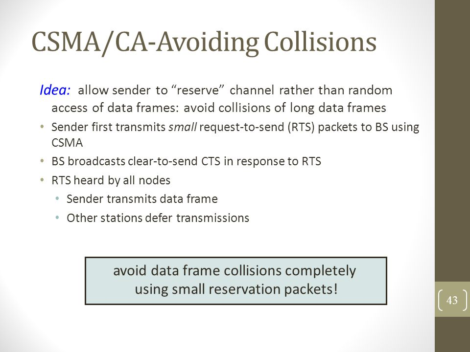 CSMA/CA-Avoiding Collisions