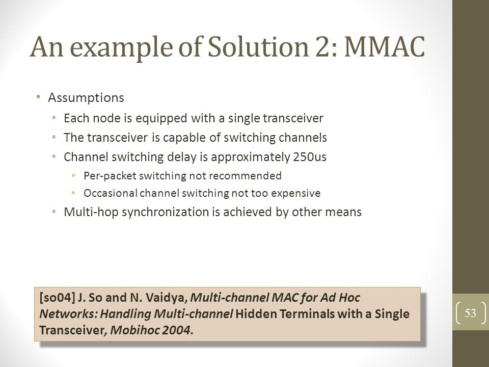 An example of Solution 2: MMAC