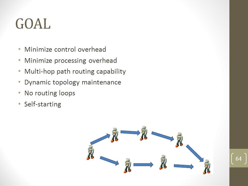 GOAL Minimize control overhead Minimize processing overhead