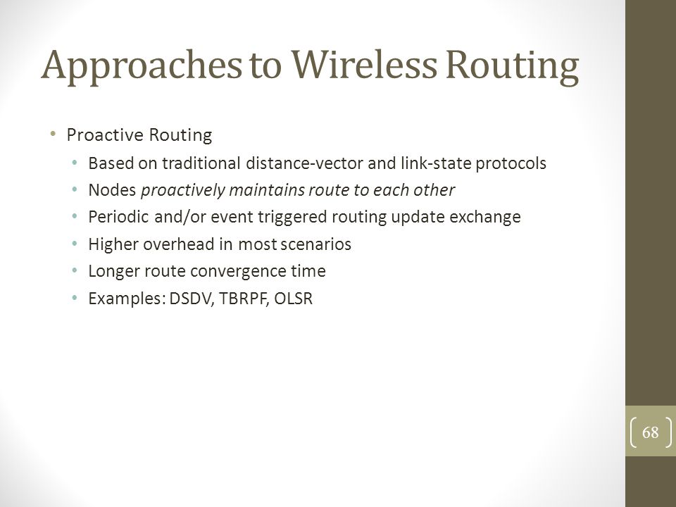 Approaches to Wireless Routing