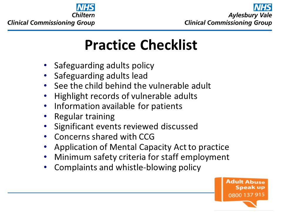 Practice Checklist Safeguarding adults policy Safeguarding adults lead