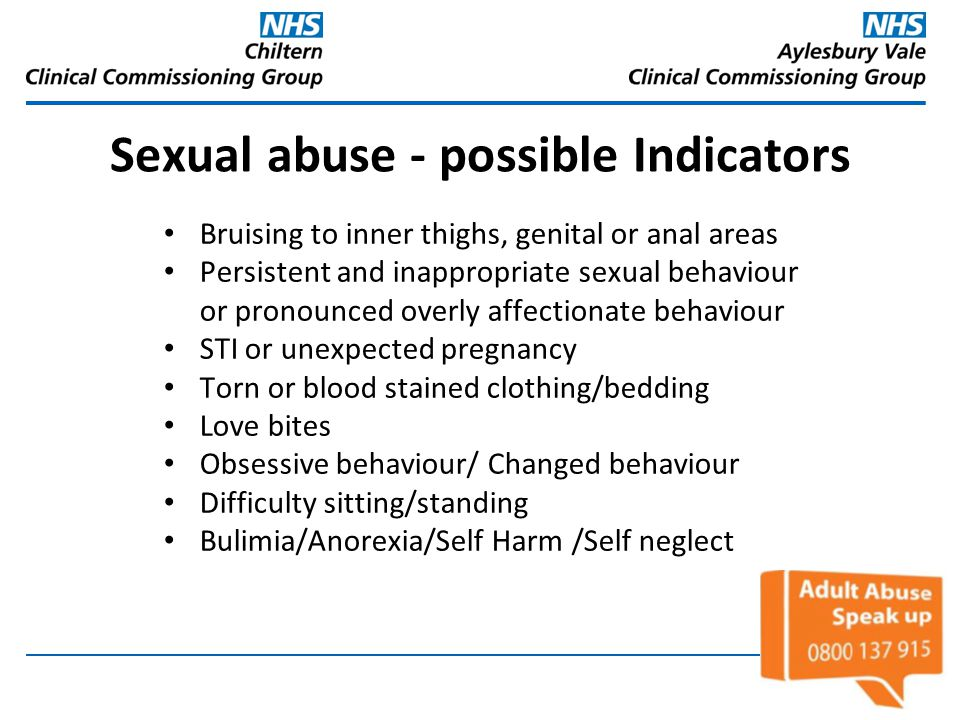 Sexual abuse - possible Indicators