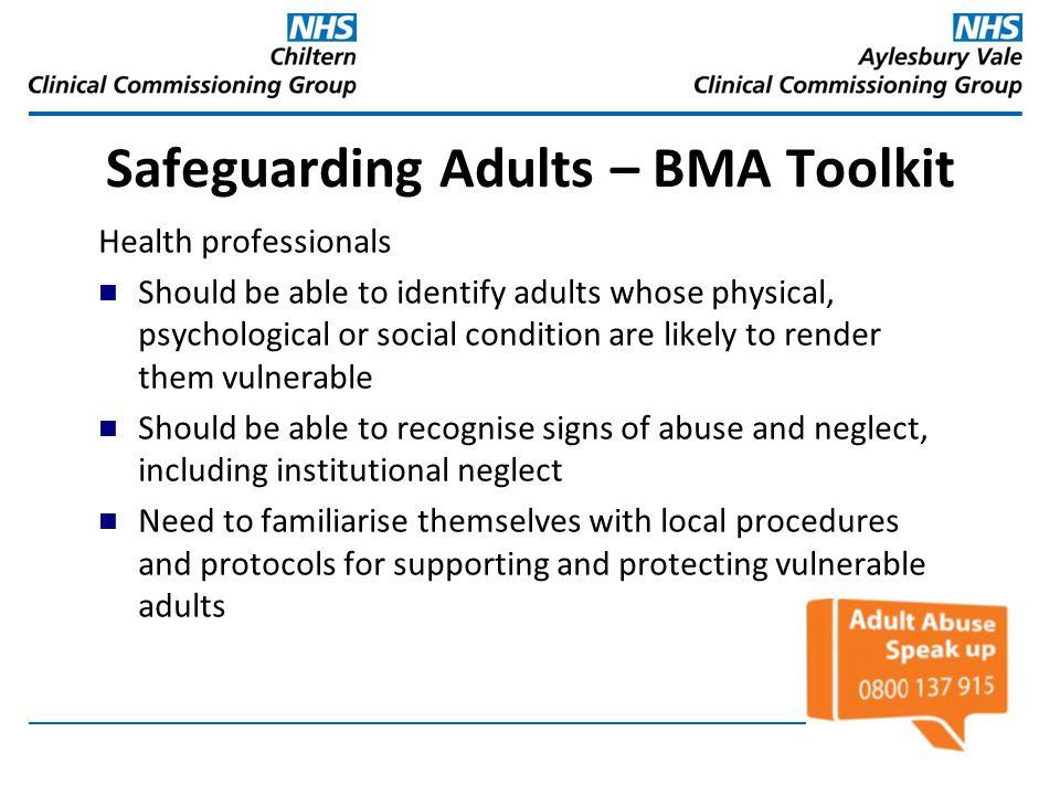 Safeguarding Adults – BMA Toolkit