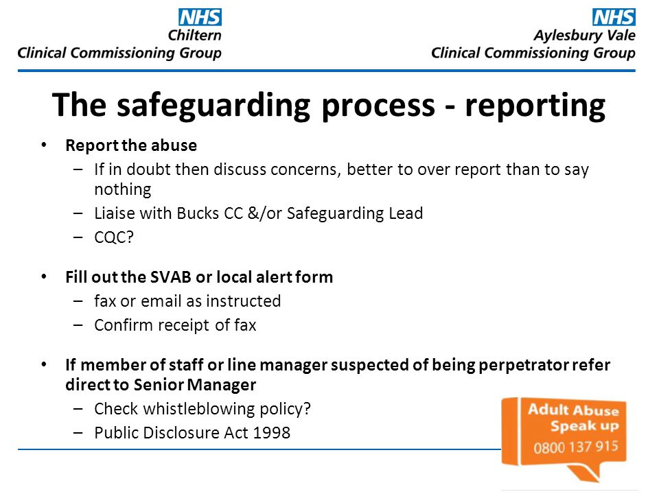 The safeguarding process - reporting