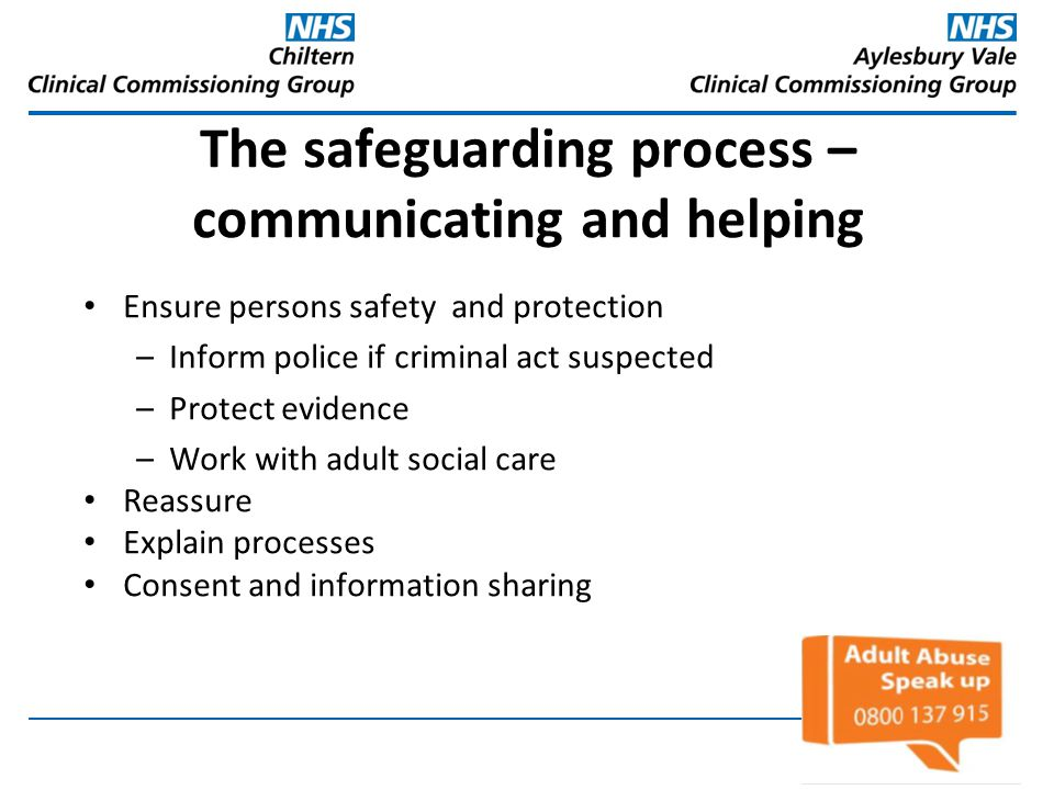 The safeguarding process – communicating and helping
