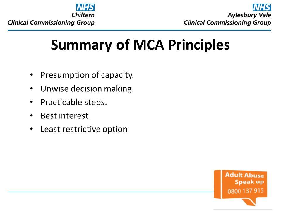 Summary of MCA Principles