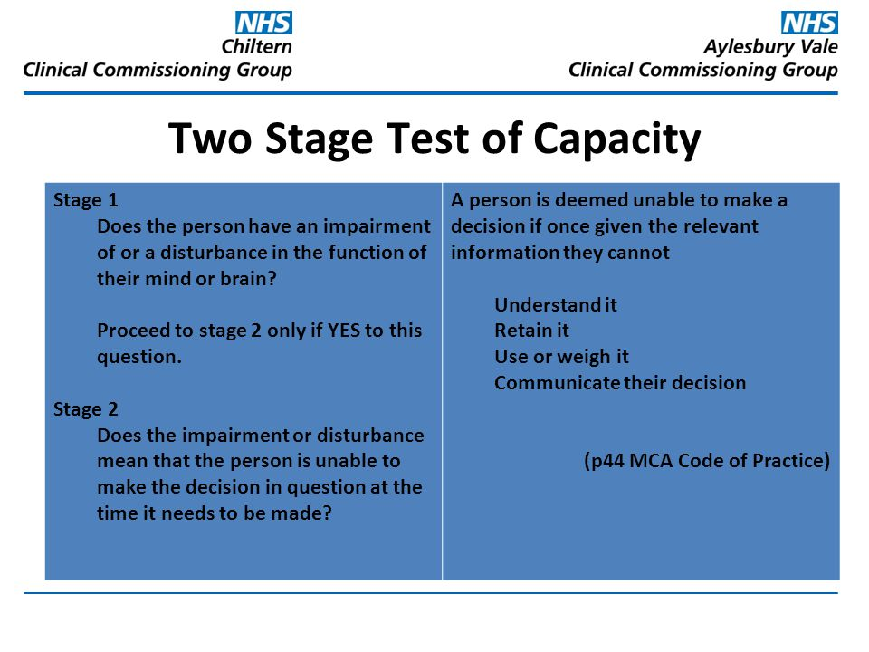 Two Stage Test of Capacity