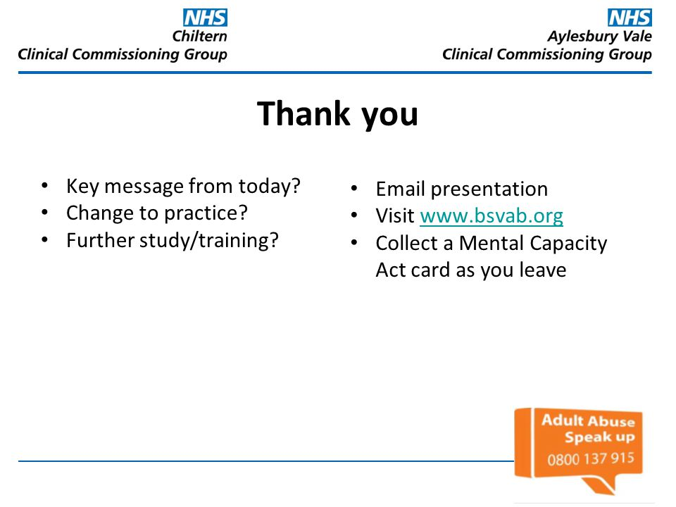 Thank you Key message from today Email presentation