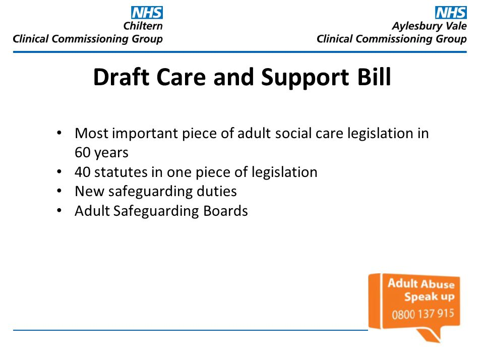 Draft Care and Support Bill
