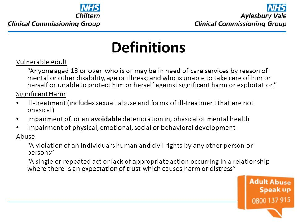 Definitions Vulnerable Adult