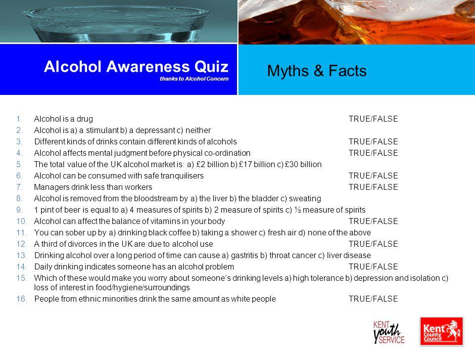 Alcohol Awareness Quiz thanks to Alcohol Concern