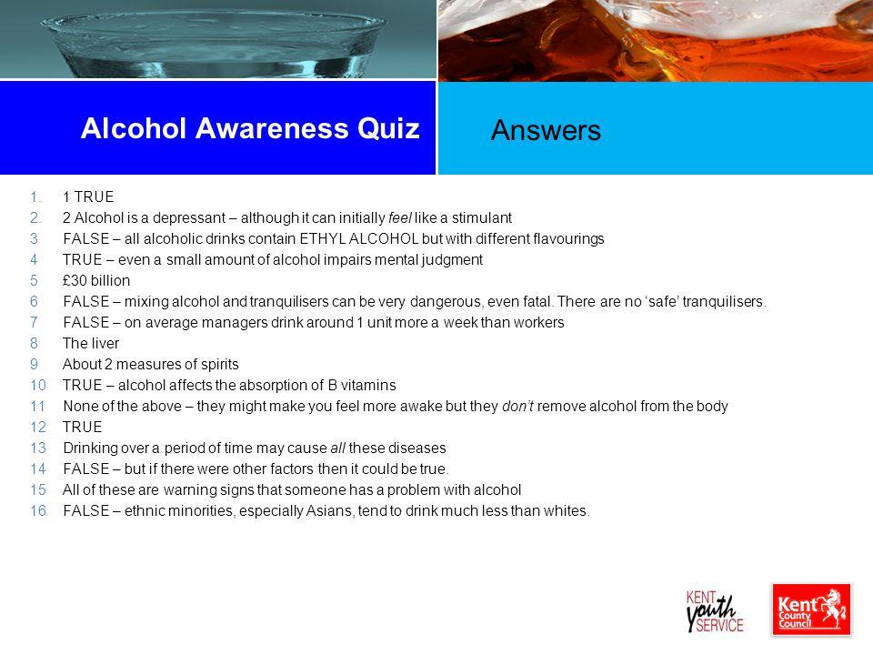 Alcohol Awareness Quiz