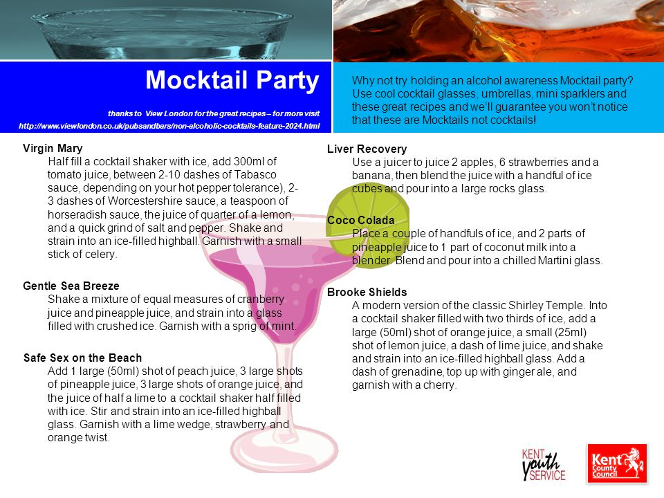 Mocktail Party thanks to View London for the great recipes – for more visit http://www.viewlondon.co.uk/pubsandbars/non-alcoholic-cocktails-feature-2024.html
