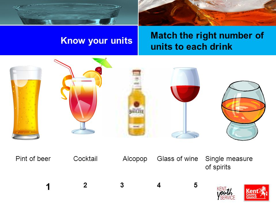Match the right number of units to each drink