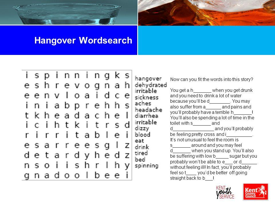 Hangover Wordsearch Now can you fit the words into this story