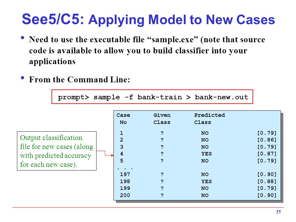 See5/C5: Applying Model to New Cases