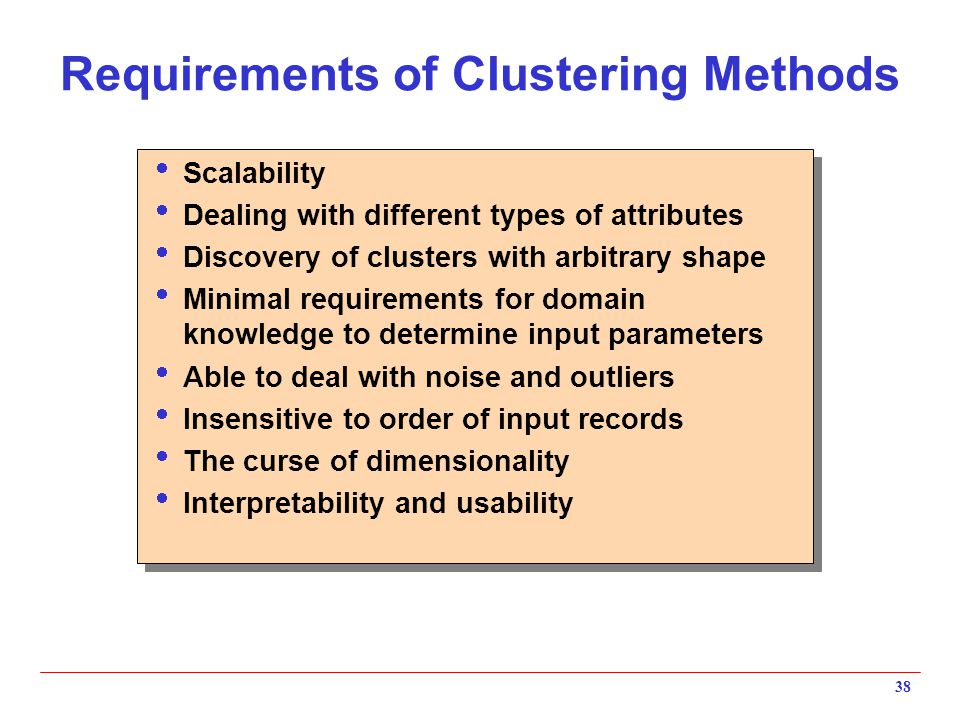Requirements of Clustering Methods