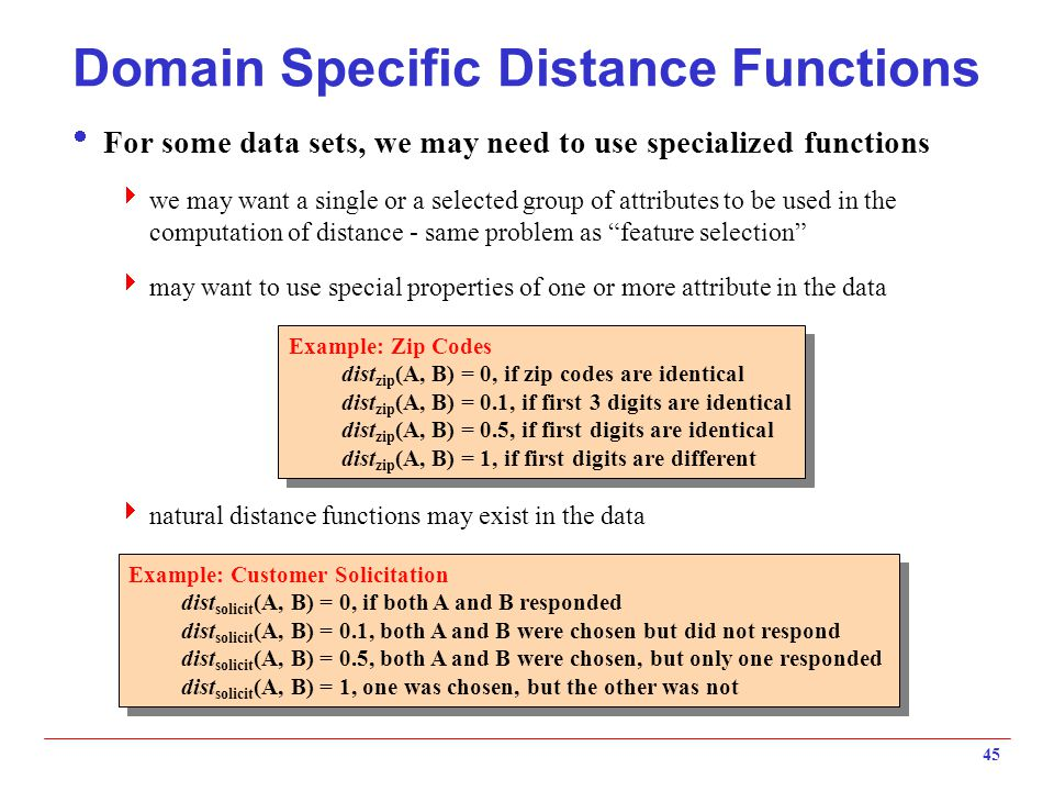 Domain Specific Distance Functions