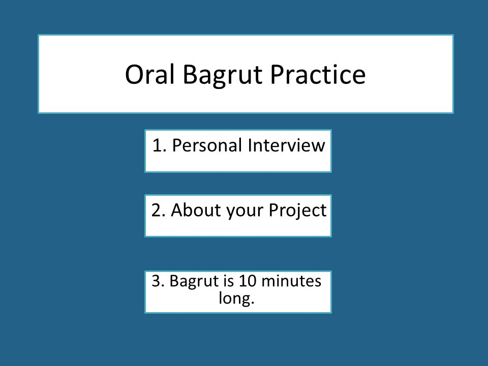 Oral Bagrut Practice 1. Personal Interview 2. About your Project