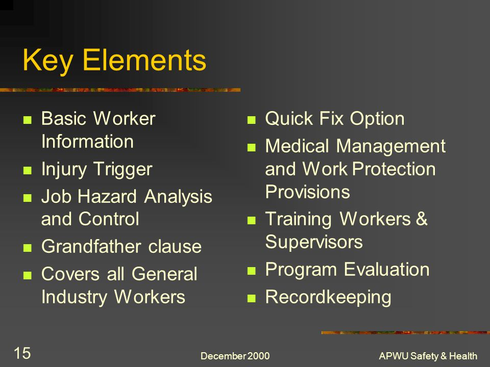 Key Elements Basic Worker Information Injury Trigger