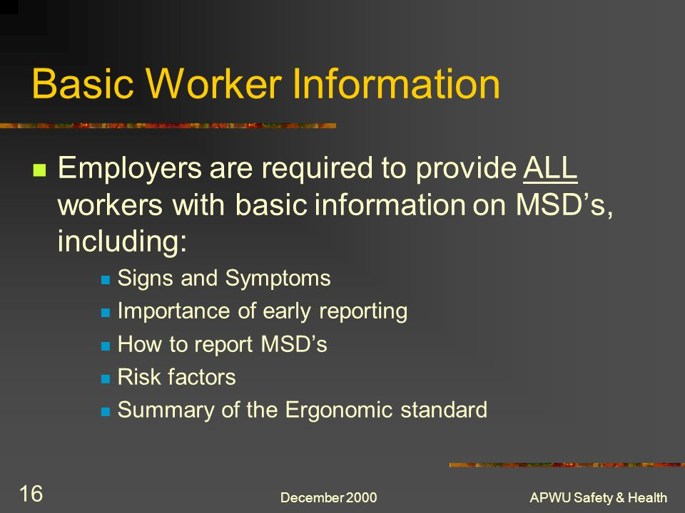 Basic Worker Information