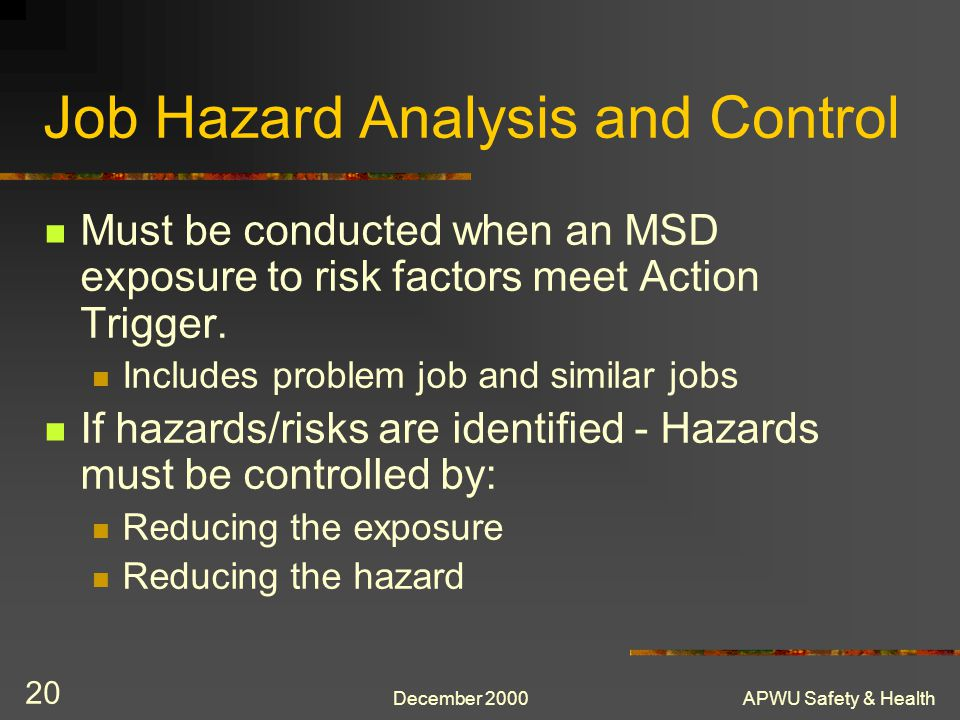 Job Hazard Analysis and Control