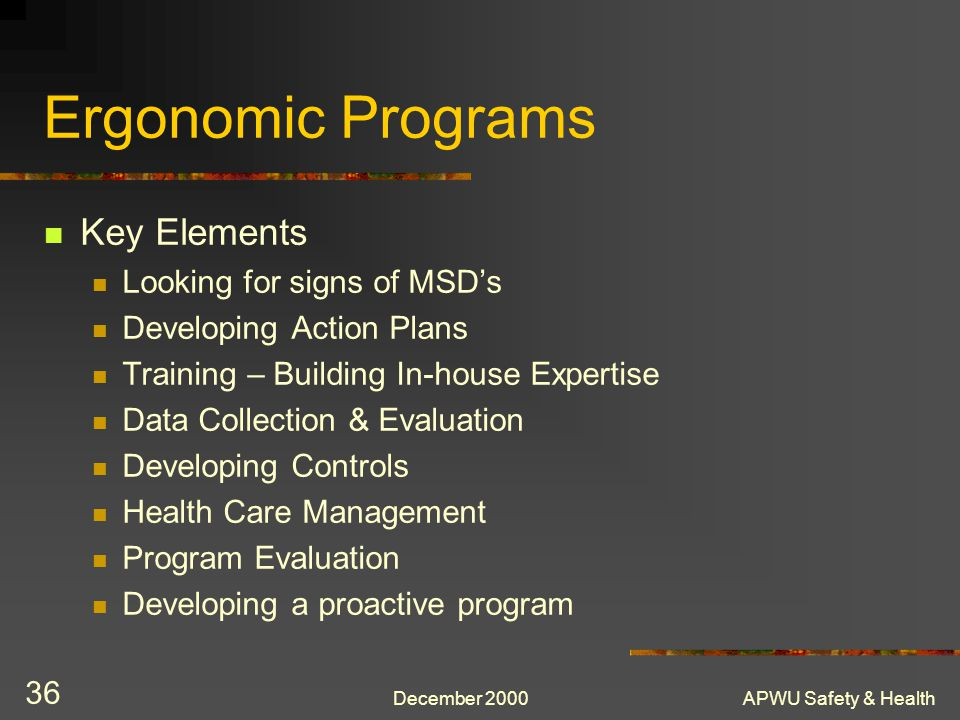 Ergonomic Programs Key Elements Looking for signs of MSD's